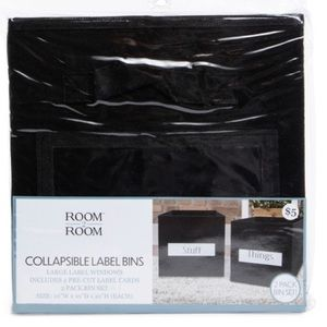 2 collapsible storage cubes with labels